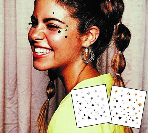 Tatuaggi adesivi temporanei per il viso e gli occhi - Confezione da 2 pezzi in oro e argento, trucco per il viso ad effetto brillante; adatto per feste, festival e spettacoli teatrali.