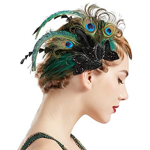 Coucoland 1920s - Fermaglio per capelli con piume di pavone, stile anni '20, elegante fermaglio per capelli Gatsby, Stile 1: pavone, Taglia unica