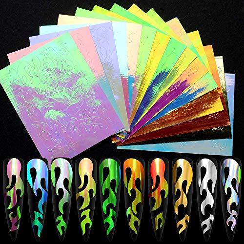 16 Pezzi Adesivi per Unghie a Fiamma Fuoco Flame Nail Art Stickers Laser Olografica Adesivi di Foglio Riflettente Fiamma Fuoco Nail olografico