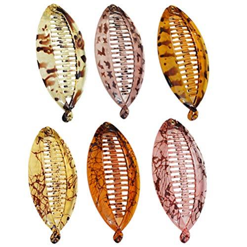 Lurrose Fermaglio per Capelli a Banana, 6pcs Impugnatura a Forma di Pesce per Barrette con Morsetto per Donne (modello)