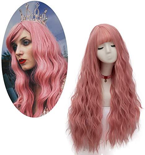 Parrucca Ondulata Lunga Rosa, FiveFour Parrucche Donna Sintetiche con Frangia per Uso Quotidiano e Festa
