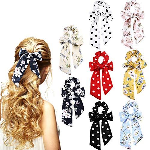 Macabolo - Confezione da 8 elastici per capelli con fiocco, in chiffon, per capelli