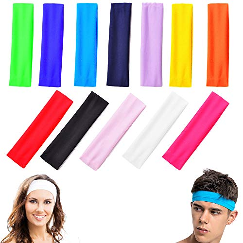 Headband, Fascia da 12 Pezzi in Cotone Elasticizzato Sport Yoga, Capelli Sport Fascia, Fasce in Cotone Yoga, Fascia Capelli per Capelli Colore Misto Adatto per Adolescenti, Adulti, Donna e Uomini