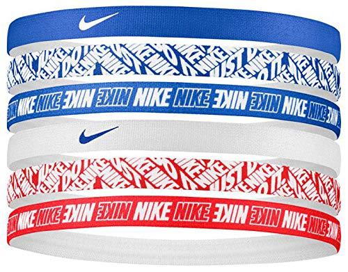 NIKE - Set di 6 fasce elastiche per capelli, unisex, per adulti, blu/bianco/rosso, taglia unica