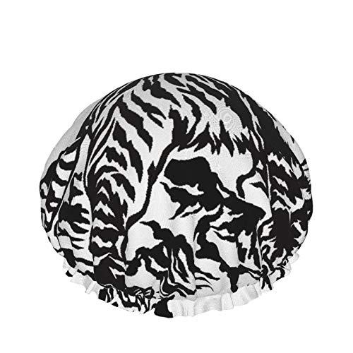 Cuffia per doccia a doppio strato,Tiger giapponese,Tappi da bagno elastici impermeabili riutilizzabili per tutte le lunghezze