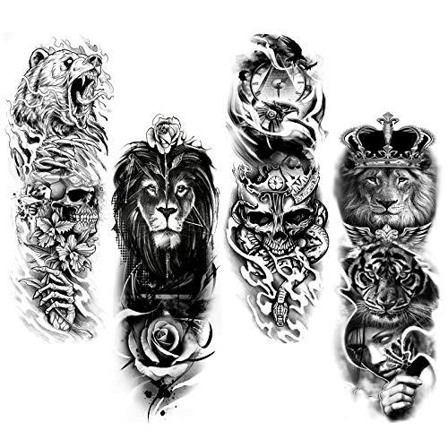 HOWAF Tatuaggio temporaneo a braccio completo, 4 fogli tatuaggi temporanei extra large Manicotto del tatuaggio nero Tatuaggi finta per adulti, uomo, donna, impermeabile, rimovibile