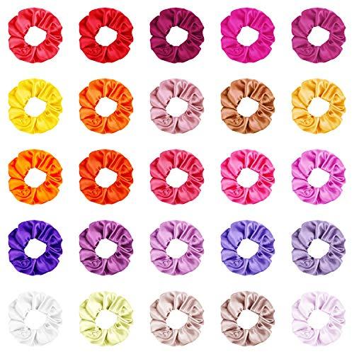 Elastici per Capelli Bambina Scrunchies in Raso Capelli Elastic Hair Ties Ponytail Holder Fasce per Donne Ragazze 25 Colori