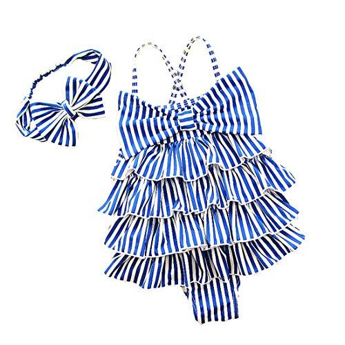YONKINY Costume da Bagno Bambina Carino Strisce Costume Intero con Bowknot Fascia Capelli Costume Mare Piscina Bimba Beachwear Swimsuit (Blu, 2-3 anni-90)