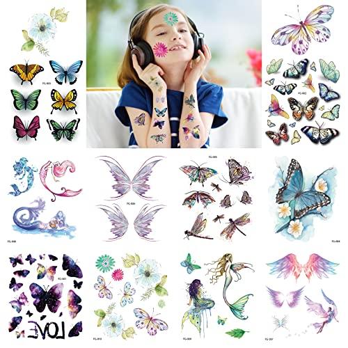 10 Pezzi Tatuaggi Temporanei Tatuaggi Farfalla Kit di Tatuaggi Glitter per Bambinie Tatuaggi per bambini ragazzi Tatuaggi del Festival Coprire un Tattoo Ragazza di compleanno per bambini in regalo