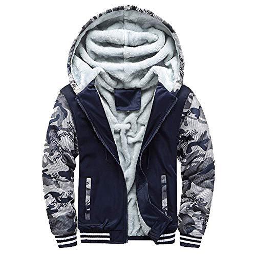Mens Long-Sleeve Zipper Owl Print Plus Velvet Padded Hooded Jacket Sweater Winter Warm Jacket Outwear Coat Tops M-5XL