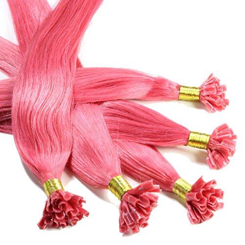 Hair2Heart 25 x 0,5g Extension Capelli Veri Cheratina - 30cm, Colore #Rosa, liscio