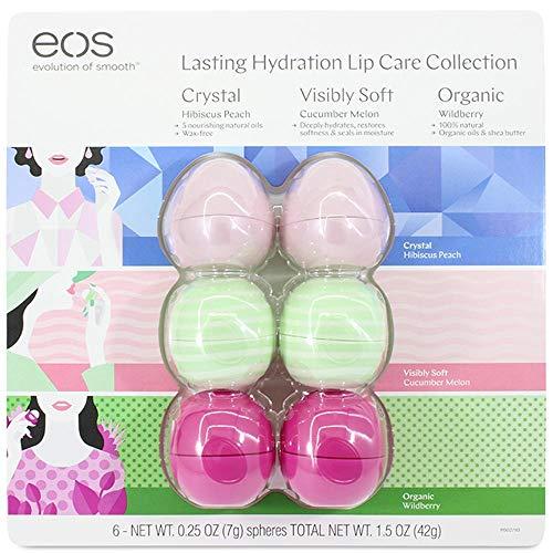 EOS Evolution of Smooth Lip Balm ~ Lasting Idratazione Lip Care Collection Confezione da 6 (Hibiscus Peach, Cucumber Melon, Wildberry)