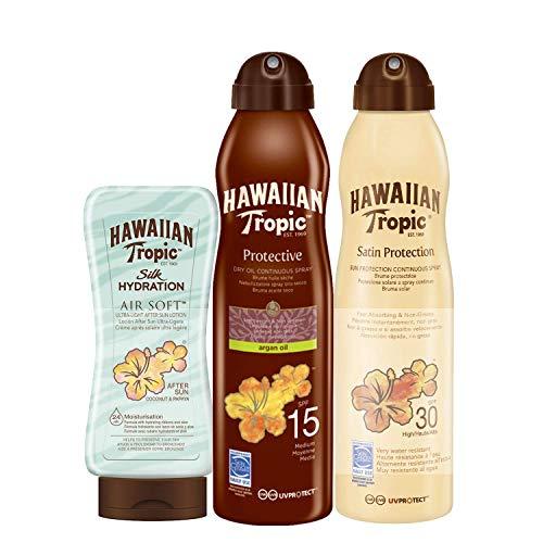 Hawaiian Tropic PACK Protezione Solare – Spray Solare a Vaporizzazione Continua Satin SPF 30, 180ml + Olio Solare Abbronzante in Spray SPF 15, 180ml + Dopo Sole Silk Hydration Air Soft, 180ml