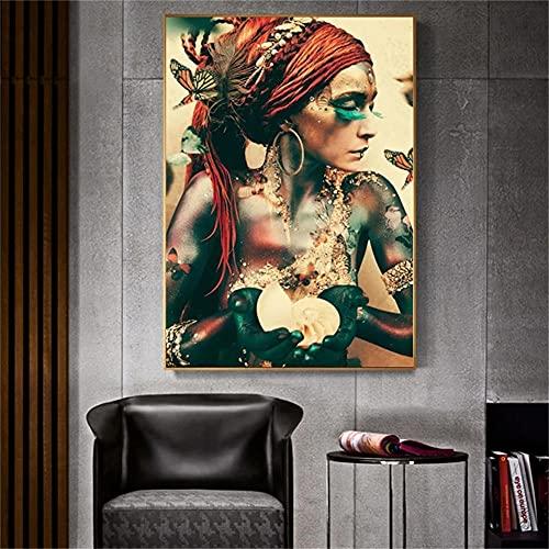 5D DIY Pittura Diamante con Codici Numerici Kits Colore Farfalla Tatuaggio Donna Trapano Completo Cristallo Diamond Painting Arts Punto Croce Craft per Decor Parete Casa Regalo Round Drill 80x120cm