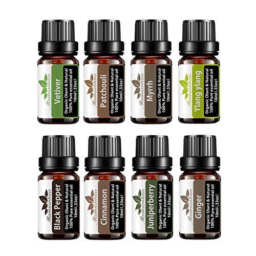 8x10ml Set di oli essenziali organici - Mumianhua Olio essenziale Olio per aromaterapia Grado-terapeutico Vetiver, patchouli, mirra, ylang ylang, pepe nero, cannella, zenzero, bacche di ginepro