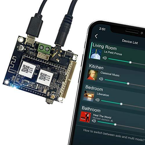 WiFi&Bluetooth Audio Receiver Board, Wireless Multizone Multizone Home Stereo HiFi Music Receiver Circuit Module con Airplay Spotify Connect e telecomando per diffusori autocostruito-Up2stream Mini V3