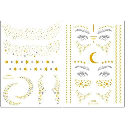 Xinlie 2 Pezzi Adesivi per Tatuaggio Metallico Flash Tatuaggi Faccia Tatuaggio Adesivo per viso Adesivi per Festa Regalo Ragazze e Giovani Donne per Occhi Faccia Party Festival Spettacoli (2 Pezzi)