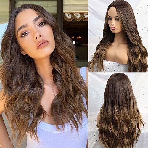 YXSHZ Parrucca sintetica ondulata lunga da donna con capelli castani misti per capelli naturali alla ricerca di tutti i giorni