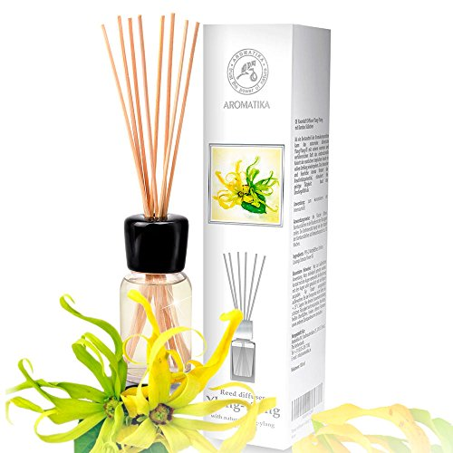 Diffusore Profumato per Ambiente Ylang Ylang 100ml con 8 Bastoncini di Bambù - Olio Essenziale Ylang - Fragranza Intensa e Duratura - Senza Alcool - Aromatizzatore d'Aria per Interni