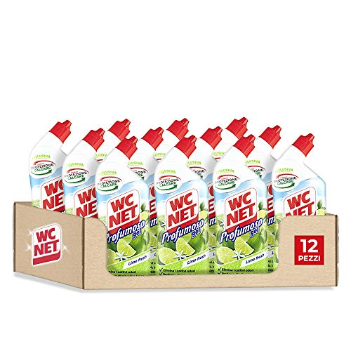 Wc Net, Profumoso Gel, Detergente Liquido per Sanitari, Prevenzione Calcare e Igienizzante per WC, Essenza Lime Fresh, 700 ml x 12 confezioni