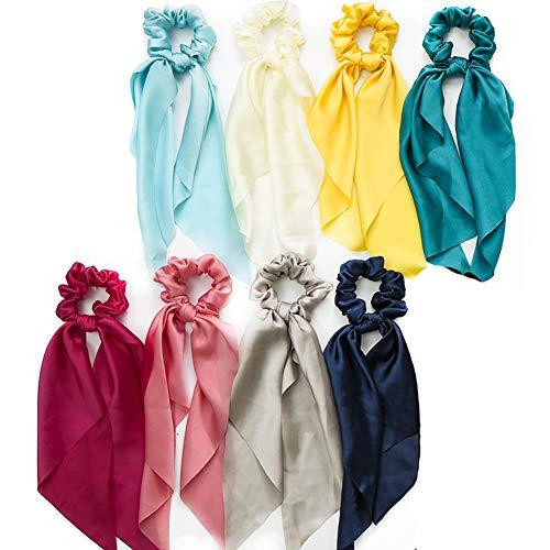 8pcs chiffon capelli scrunchies bowknot raso di seta fascia per capelli elastico titolare coda di cavallo accessori per capelli per le donne ragazze (Colori chiari)