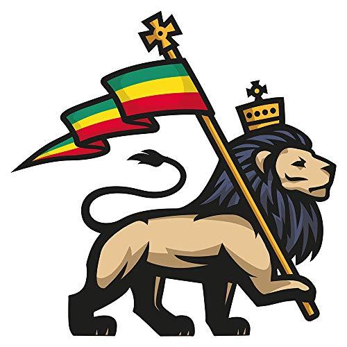 dekodino® Adesivo murale leone d'Africa con corona e bandiera deco