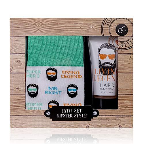 Accentra - Set regalo per la cura degli uomini, con gel doccia e shampoo (2 in 1) e 1 paio di calzini eleganti, tutto in una confezione regalo