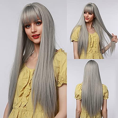 EMMOR Parrucche lisce lunghe grigie per donna, capelli naturali sintetici con frangia d'aria Parrucche piene per uso quotidiano e per feste