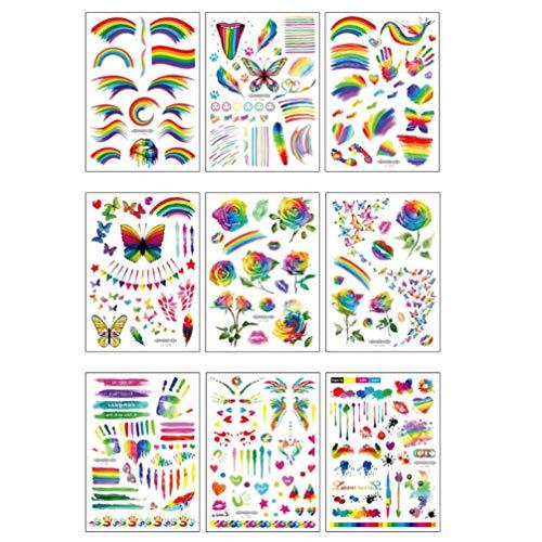 Beaupretty Adesivi per tatuaggi arcobaleno 9 fogli adesivi per body art per tatuaggi temporanei per feste in spiaggia e feste
