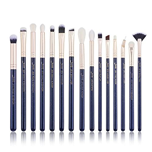 Jessup T477 - Set di 15 pennelli da trucco professionali per occhi, sopracciglia, labbra, ombretto, eyeliner e altri cosmetici, blu di Prussia
