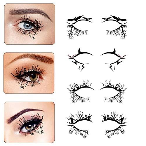 4 pezzi di adesivo per eyeliner di Halloween per tatuaggi temporanei per occhi pipistrello ragnatela modello trucco occhi tatuaggi autoadesivi per il viso per feste, festival rave