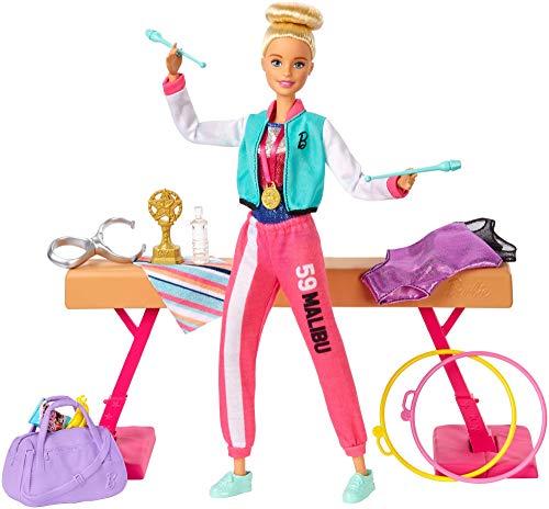 Barbie- Playset Ginnasta Bambola Snodabile con Bilanciere e Accessori Giocattolo per Bambini 3+ Anni, GJM72