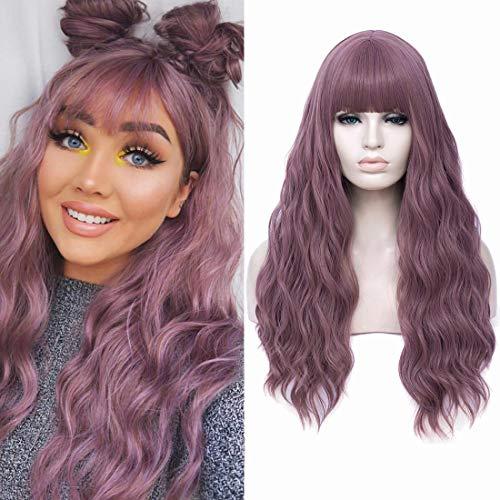 Parrucche per donna Parrucca ondulata lunga 28 pollici con frangia d'aria Parrucche sintetiche resistenti al calore Parrucca sostitutiva dei capelli (28''viola)