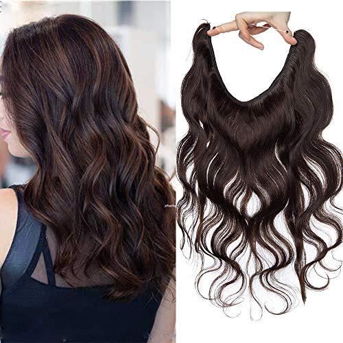 SEGO Extension Invisibili Capelli Veri Filo Mossi Ricci No Clip Fascia Unica Regolabile Remy Human Hair Naturali 3/4 Full Head 60g (40cm, 2 Castano Scuro)