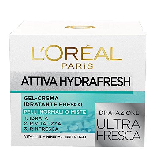 L'Oréal Paris Gel Crema Idratante Viso per Pelli Normali e Miste Attiva HydraFresh, Idrata, Rivitalizza e Rinfresca la Pelle, 50 ml, Confezione da 1
