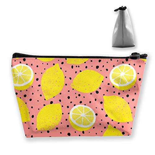 Modello di limone con puntini neri Trendy estate sfondo Borsa da toilette da viaggio Custodia per trucco cosmetica