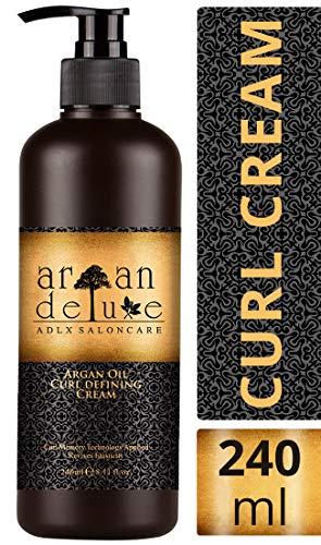 Argan Deluxe crema definizione ricci in qualità professionale 240 ml – crema trattamento ricci con olio di Argan per lucentezza, idratazione ed elasticità - Curl Defining Cream