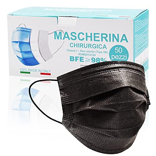 50 Pezzi MADE IN ITALY Mascherine Nere protettiva colorata personale 3 strati CE tipo II, Nasello Regolabile, Pacchi individuali (Nero A3)