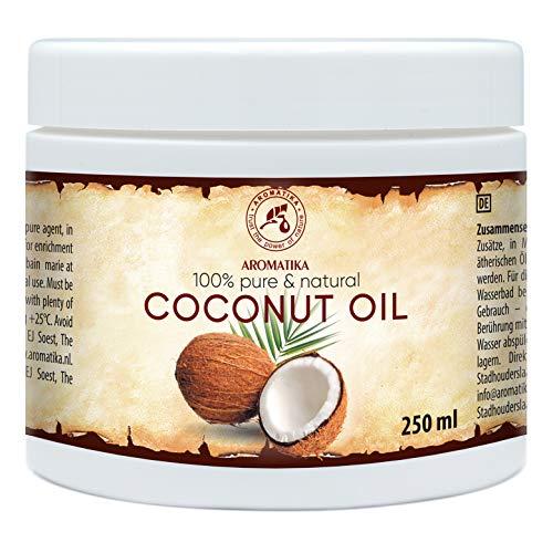 Olio di Cocco 250ml - Cocos Nucifera - Indonesia - Non Purificato - Naturale e Puro al 100% - Pelle Morbida ed Elastica - Cura di Capelli - Perfetto come Balsamo - Aromaterapia - Massaggi - SPA