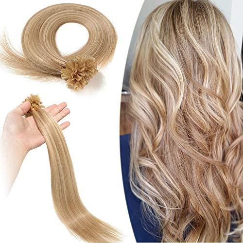 Elailite Extension Capelli Veri Cheratina Invisibile U Tip 100 Ciocche 50g Remy Human Hair Naturali Indiani 40cm #18/#613 Beige Sabbia Biondo/Biondo Chiarissimo