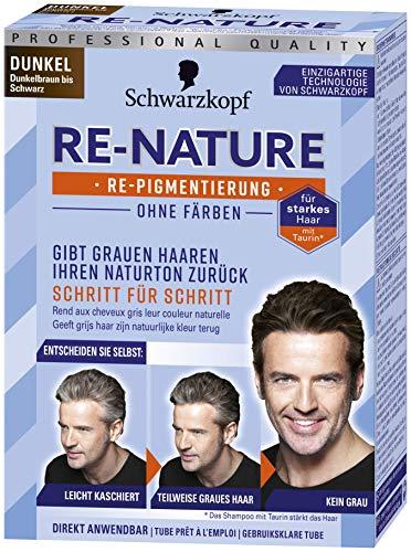 Schwarzkopf Re-Nature Re-pigmentation, Maschile scuro, tinture, 2 x 50 ml di tinta per capelli e 2 x 22.5 ml di shampoo