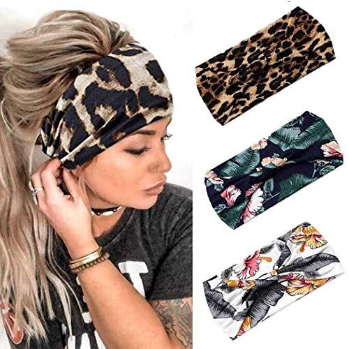 Fashband Boho - Fascia larga per capelli con stampa leopardata e stampa leopardata, fascia per capelli vintage con elastico per capelli per donne e ragazze (confezione da 3)