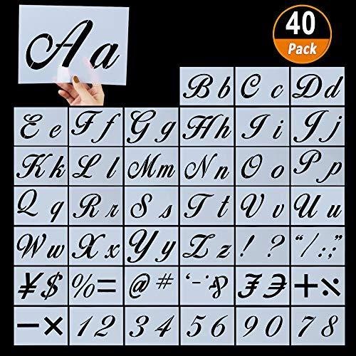 Stencil per Lettere da 40 Pezzi per Pittura su Legno,Stencil per Alfabeto in Plastica Riutilizzabili con Caratteri Calligrafici Lettere Maiuscole e Minuscole,Numeri e Segni