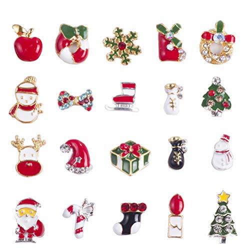 Frcolor 20PCS Natale Halloween Nails Art Stickers Glitter Strass Decorazione Nail Art