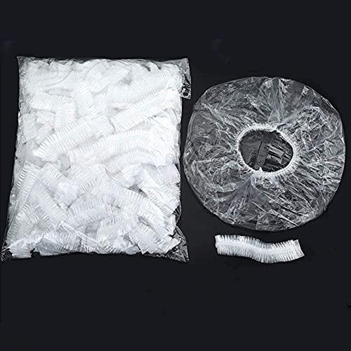 Cuffie da doccia monouso da bagno per capelli da 100 pezzi confezione singola cuffie da doccia in plastica impermeabili più grandi e spesse per viaggi termali uso domestico hotel e parrucchiere