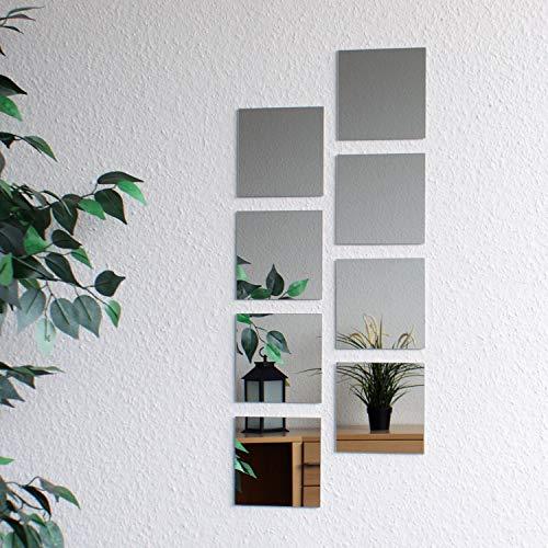 8 pezzi di piastrelle a specchio, 15x15cm, decorazione murale, specchio murale