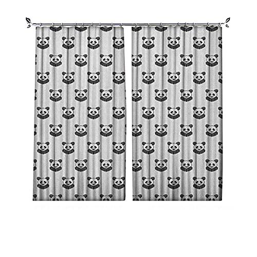 Tenda per tatuaggi oscuranti, stilizzata con motivo a forma di panda orso per bambini, in bianco e nero, per camera da letto, soggiorno, 152 x 172 cm, bianco e nero