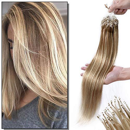 Elailite Extension Microring Capelli Veri Anelli 100 Ciocche/pack Balayage Remy Human Hair Lisci con Anellini 50g 50cm #12 Marrone Chiaro mix #613 Biondo
