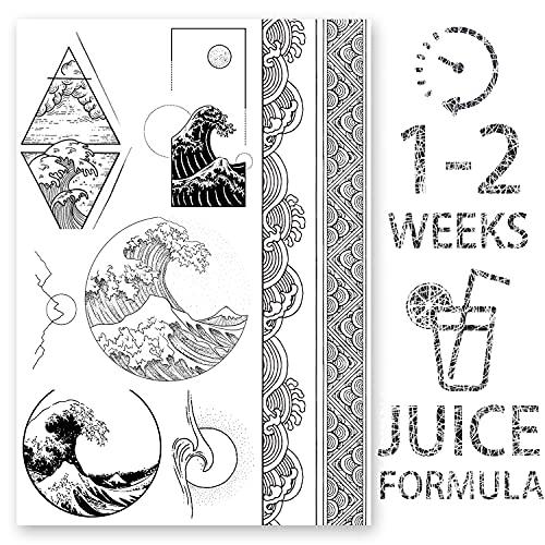 AWAKEN Tatuaggi Temporanei Finti Tattoo Juice Uomo Braccio Petto Adesivi Impermeabile a base Vegetale dura 1-2 Settimane Onda Kanagawa Ukiyoe Mare Giapponese (Disegno 6)