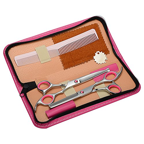 ASIV Forbici di Parrucchiere in Acciaio Inox per i Bambini Barber, Professionali Forbici per Capelli Kit con Astuccio in Pelle (Rosa)